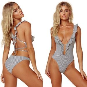 NEW Blue Life Driftwood Ruffle One Piece Swimsuit